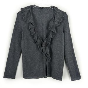 Rafaella open front cardigan with ruffle detail
